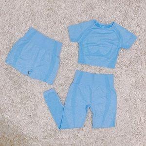 3Pc Blue Vital Seamless Set (Shorts,Leggings,Top)